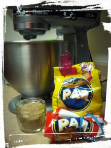 Up with substitutions! (Pan brand corn flour & ground flax seeds)