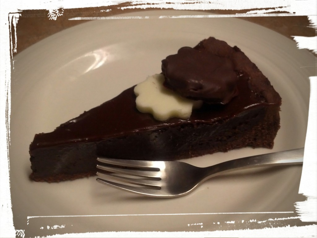 Eating my triple chocolate torte...topped with homemade peppermint patties!