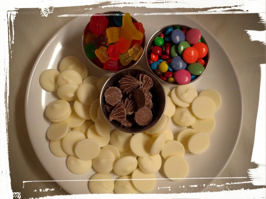 All you need: candy and chocolate wafers. And the willpower not to eat it all right away.
