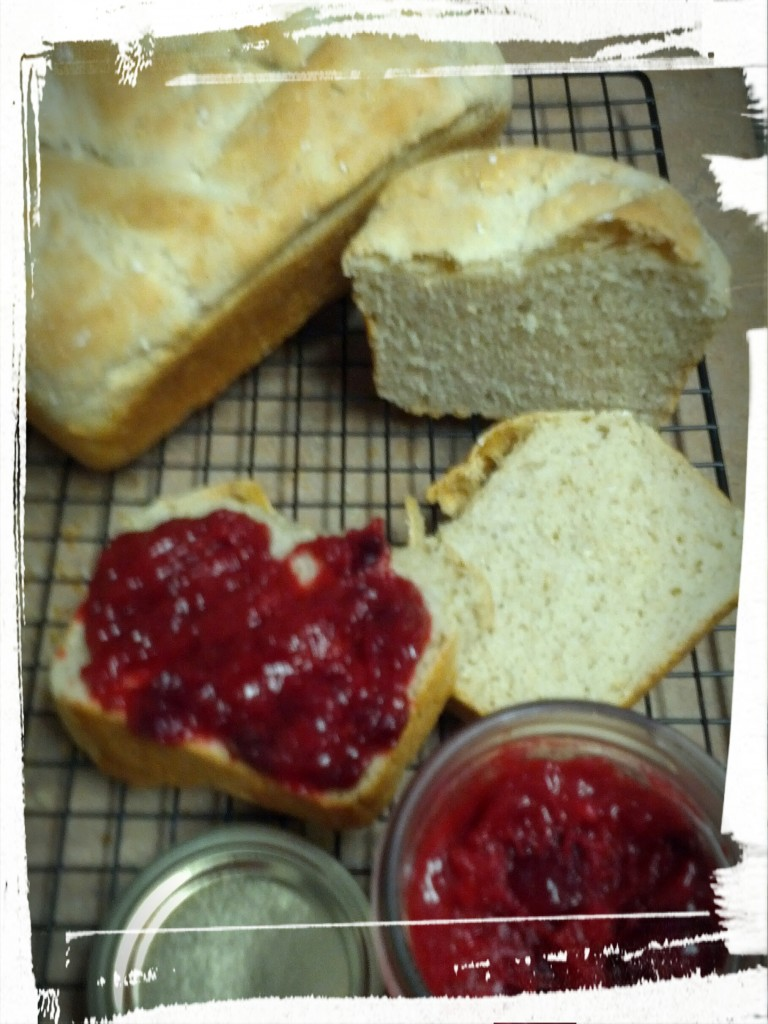 Bread with jam -- delicious, delicious jam! (technically preserves, but we won't quibble)