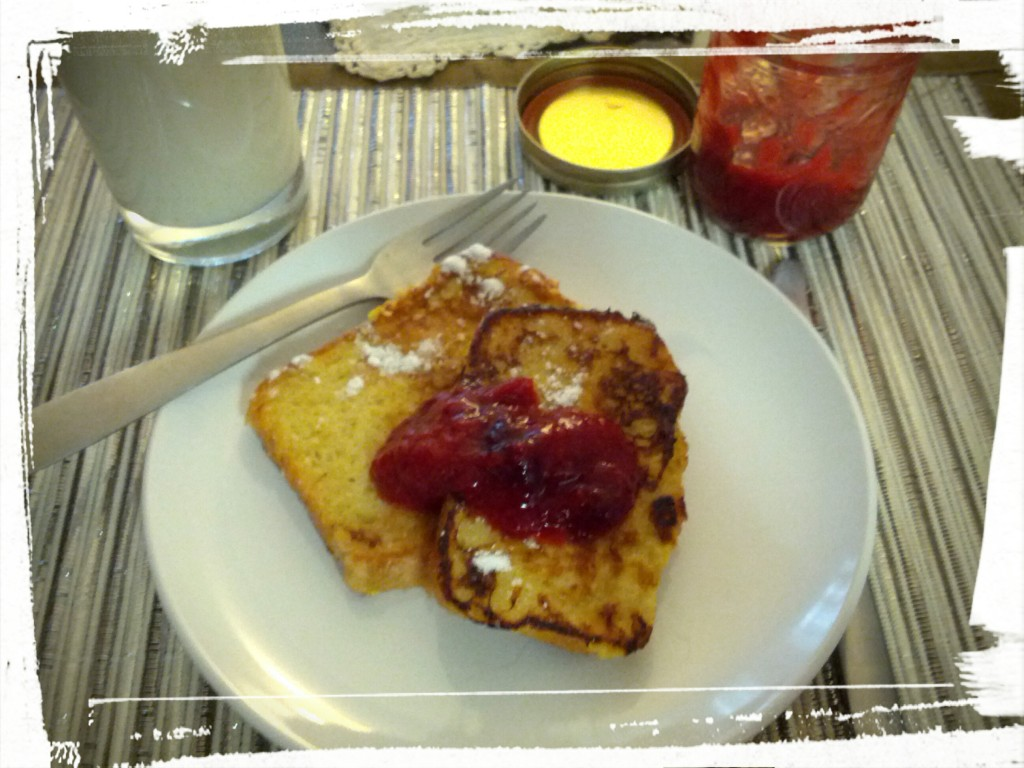 French toasted goodness, with homemade bread and homemade preserves! And milk. Does a body good!