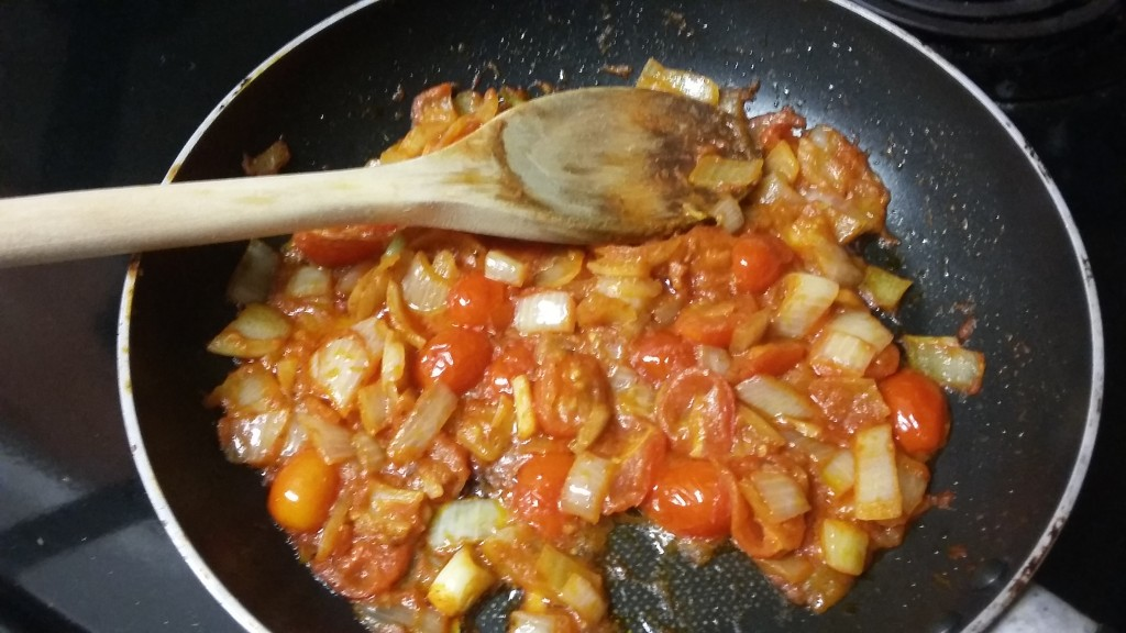 Caramelized onions and tomatoes...so delicious!