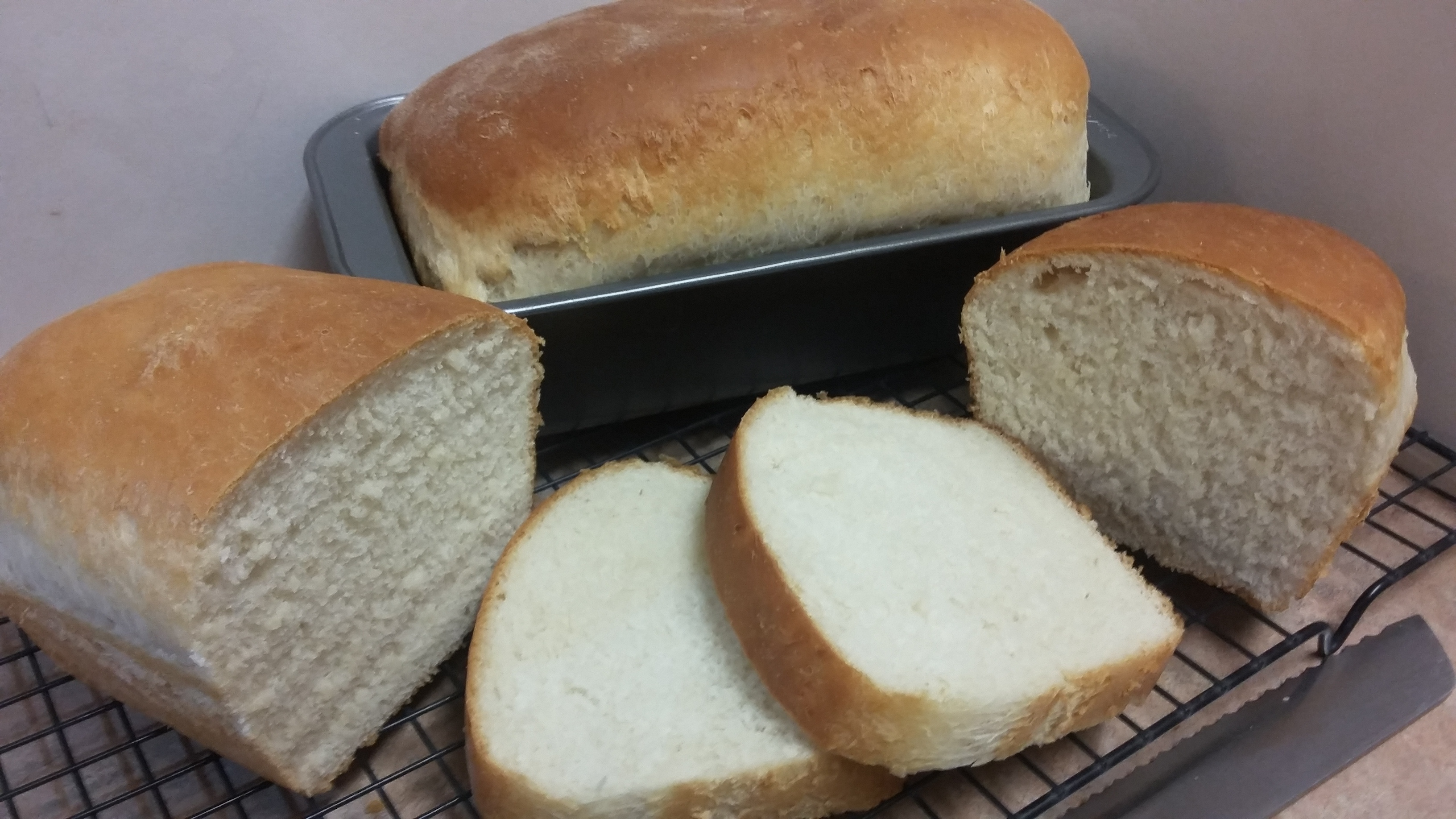 Freshly baked homemade bread, all sliced and ready to be devoured!