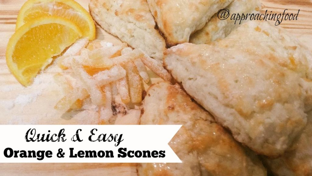Freshly baked scones, studded with lemon zest and candied citrus peels!