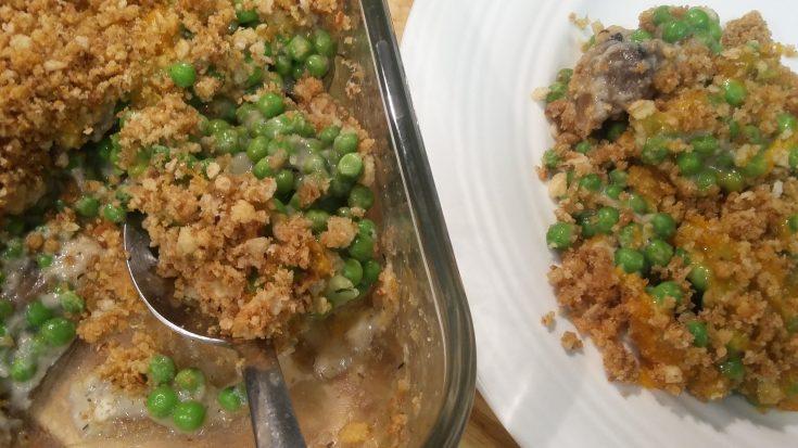 Not Your Momma's Cheesy Mushroom & Green Pea Casserole
