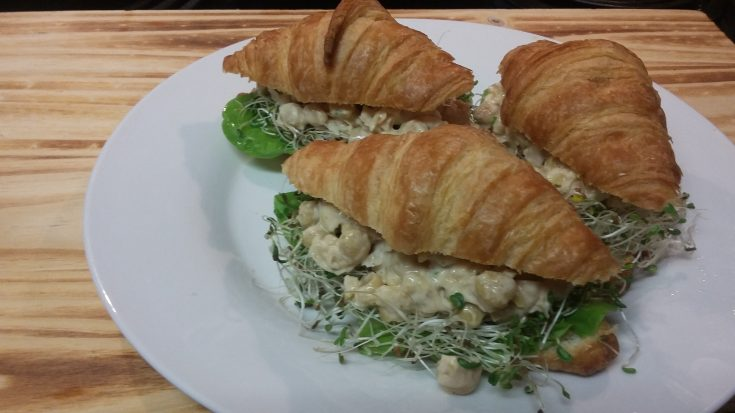 Mini Croissants Stuffed with Smashed Chickpea Salad and Baby Greens