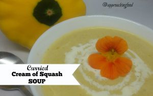 Bowl of cream of squash soup.
