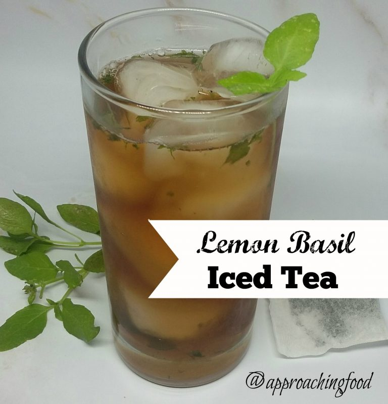 Chilled ice tea with lemon basil.