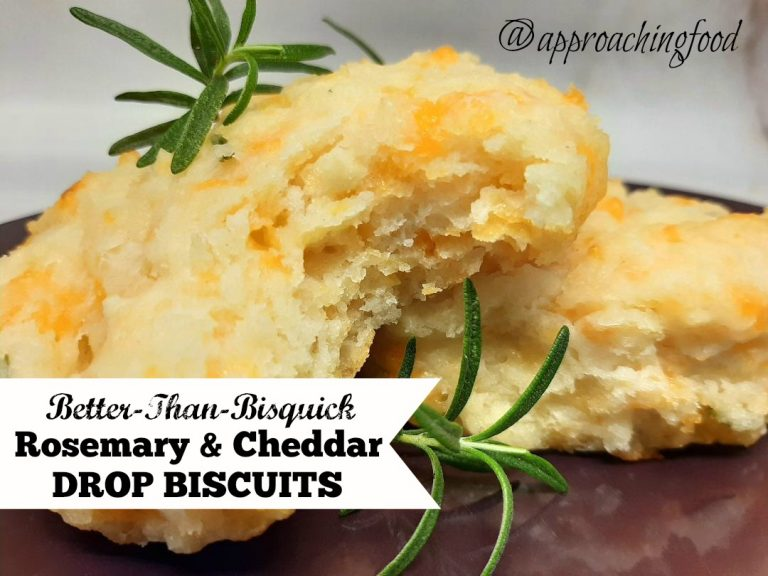 Fluffy cheddar and rosemary drop biscuits.