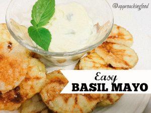 Creamy basil mayo tastes great with homemade potato chips!