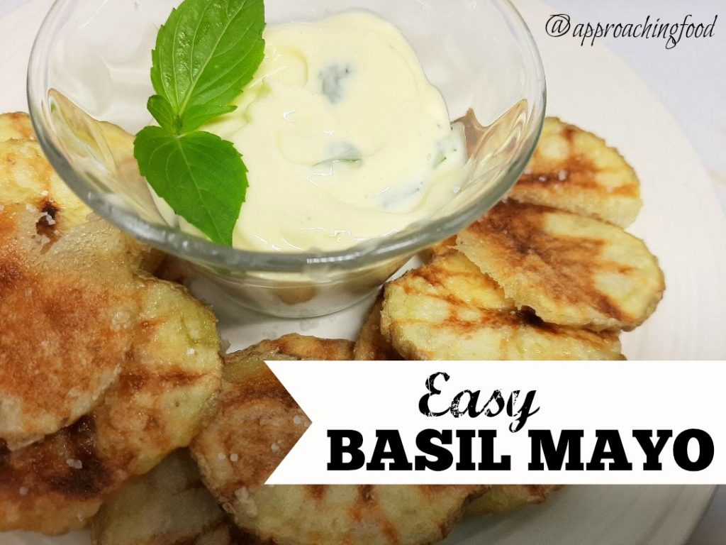 Easy basil mayo, served with homemade chips.