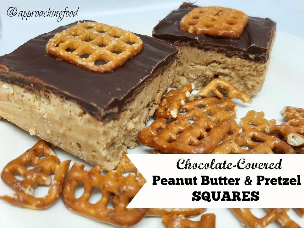 Chocolate-covered peanut butter and pretzel squares, plated with pretzels.