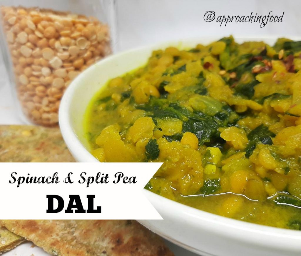 A delicious bowl of spinach and split pea Indian stew.
