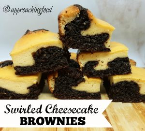 Swirled cheesecake atop chocolatey brownies.