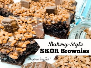 Chocolate heaven looks like these fudge and toffee topped Skor Brownies!
