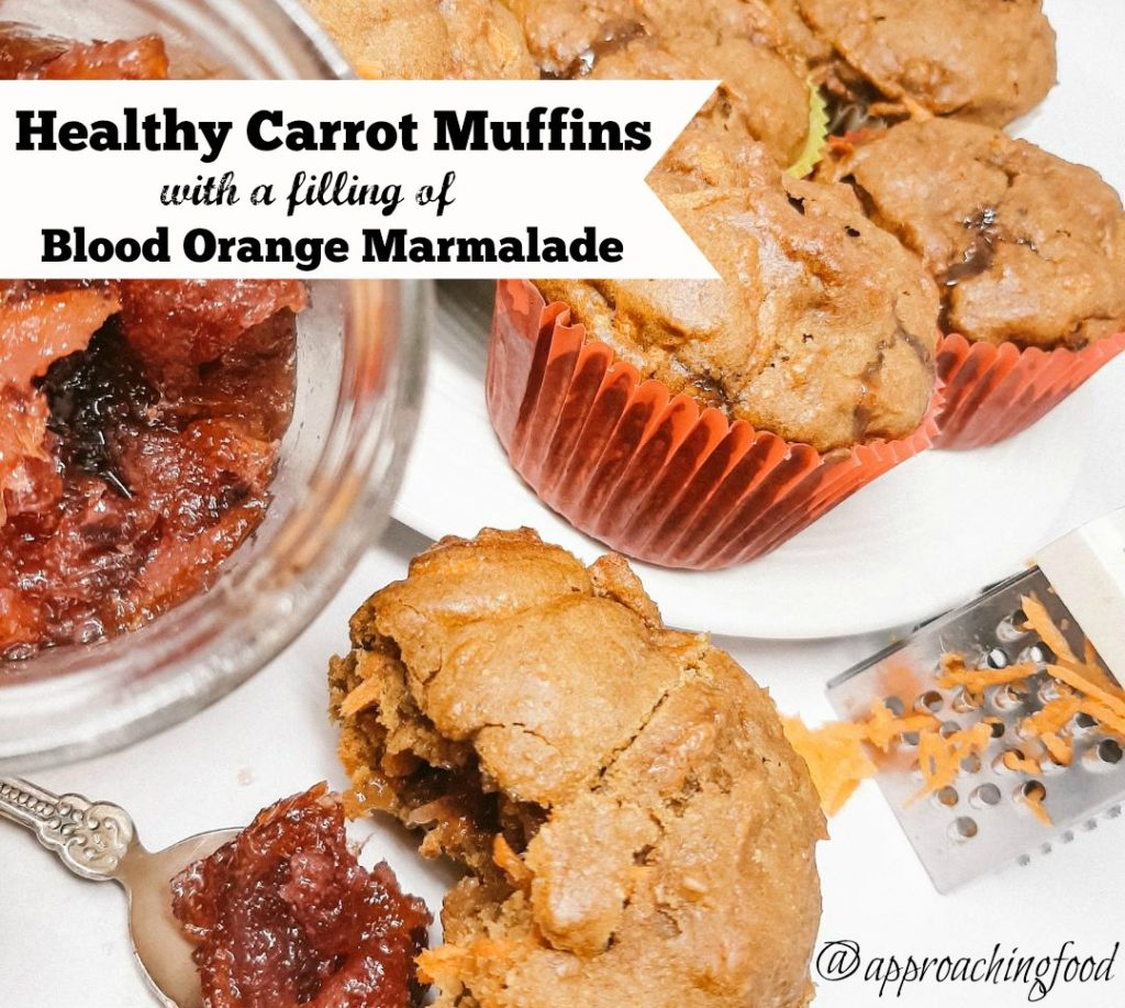 Healthy carrot muffins filled with blood orange marmalade.