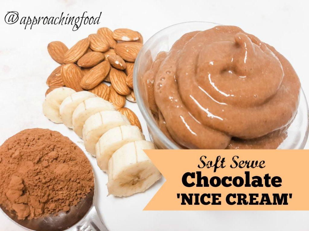 Swirls of delicious chocolate nice cream.