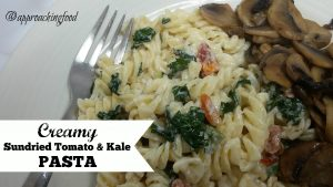 Creamy veggie pasta with sundried tomatoes and kale.