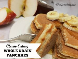 Healthy whole grain pancakes, with apple and banana slices.