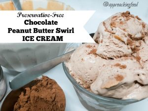 Scoops of chocolate ice cream made from real cream, swirled with real peanut butter.