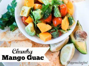 Juicy mango chunks nestled with creamy avocado and garden-fresh tomato, this chunky mango guac has it all!